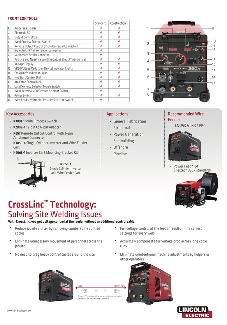 Lincoln Electric - Flextec 350X - Specifications back page2