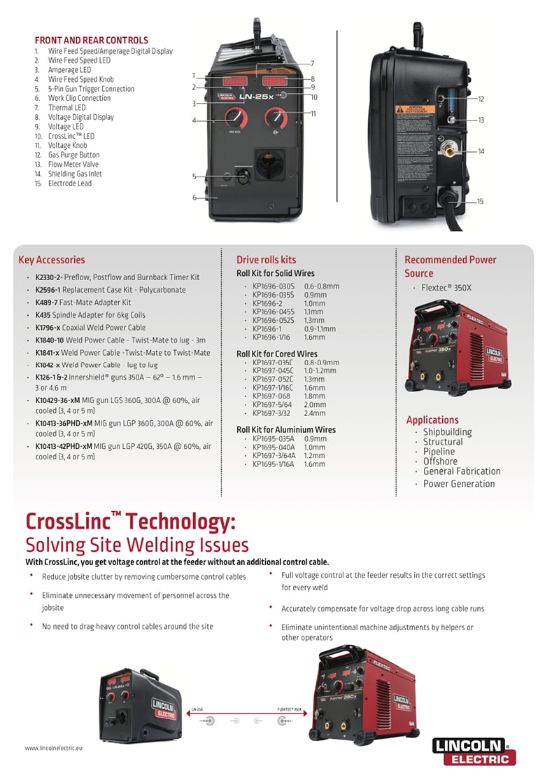 Lincoln Electric - LNX - 25x - Specifications back page